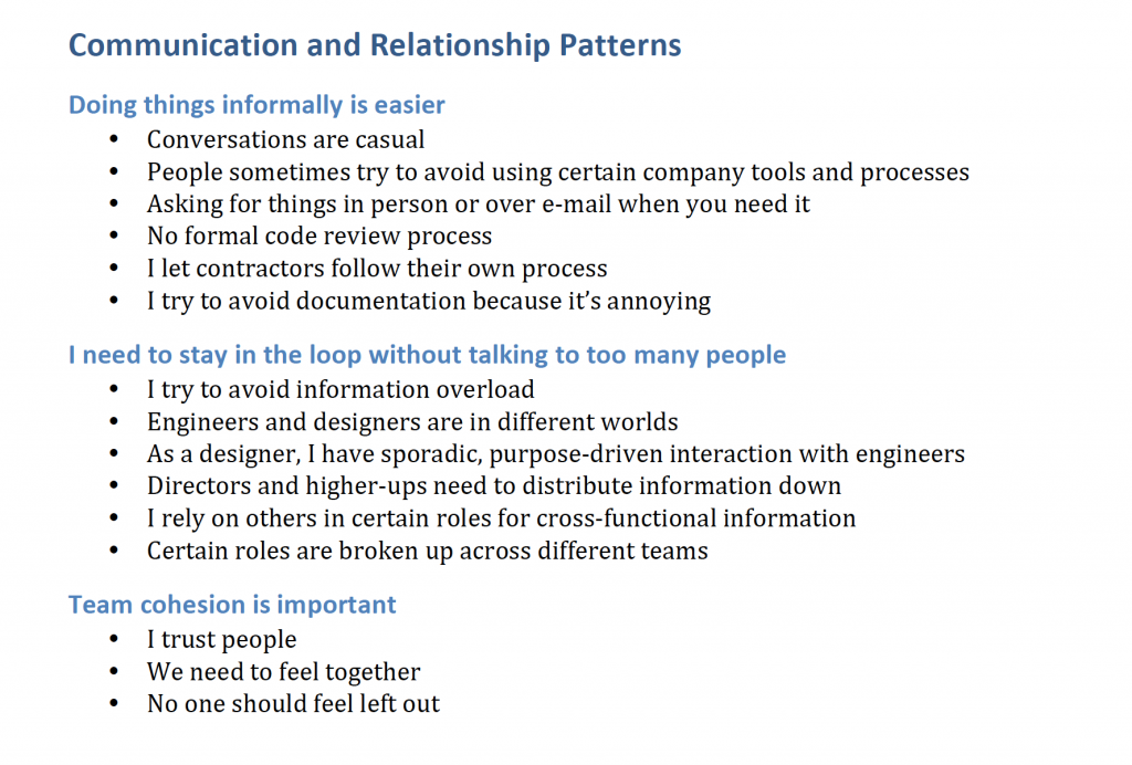 Sample findings about communication and relationships at work